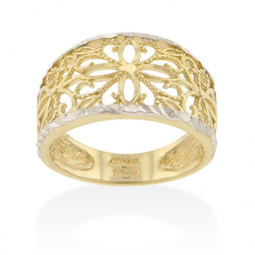 White and yellow gold filigree ring