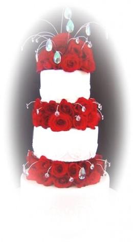 Wedding Cake Ideas: Tiered wedding cake with rhinestones