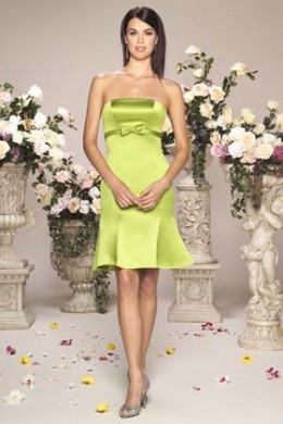 Bridesmaid Dress: Venus Bella Bridesmaids Dress Strapless Duchess Satin short gown. Trumpet style skirt, gown features a band and bow