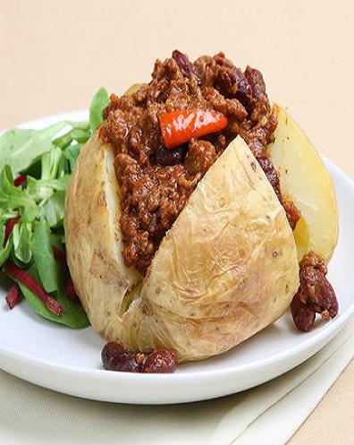 Have you ever tried a baked potato stuffed with chili. You can add sour creme , cheese and jalapenos for a real tasty treat.