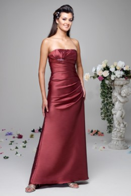 Bridesmaid Dress: Venus Bella Bridesmaids Dress D135 Strapless silky taffeta gown with a gathered bodice, embellished with a beaded motif and finished with fish tail train.