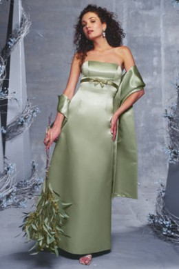 Bridesmaid Dress: Venus Bella Bridesmaids Dress D262 Strapless, satin, slim A-line gown with bow accent at the empire waist.