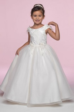 Flower Girl: Flower Girl Dress Venus Little Maiden LM3381 Scoop neck gown has attached flowers at the shoulder and embroidered Imperial Satin bodice. The Organza overlay on the full A line skirt has small floret's at the waist