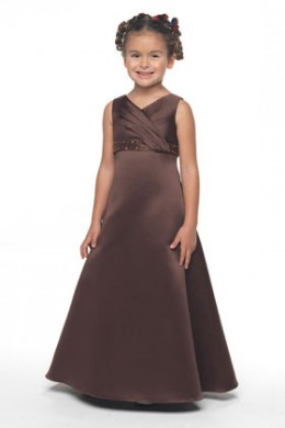 Flower Girl: Flower Girl Dress Venus Little Maiden LM3396 A line gown of Duchess Satin has an empire waist decorated with beading and sequins, modified sweetheart neckline and spaghetti straps. Crinoline for fullness.