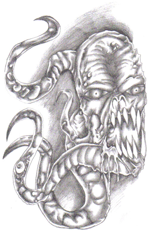 An evil demonic tentacle thing that I shaded in a light to medium pencil. Wayne Tully 2010.