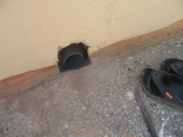 THE OPENING IN THE ROOF TO ALLOW ALL THE WATER FROM ROOF TOP TO THE WELL BELOW.[UNCEMENTED]