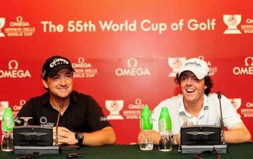 Rory and McDowell at a World Cup press conference - no Irish colours in sight