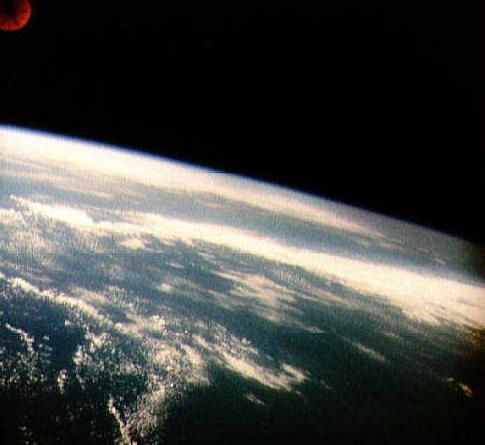 Photo of Earth taken from space by Alan Shepard. Photo courtesy of NASA.
