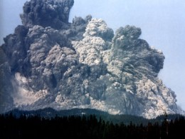 The initial stages of the May 1980 Mt. St. Helen's volcanic eruption blew out sideways, creating a huge pyroclastic flow that flattened forests and killed everything in the direction of the blast.