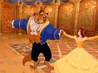 Beauty and the Beast dancing.