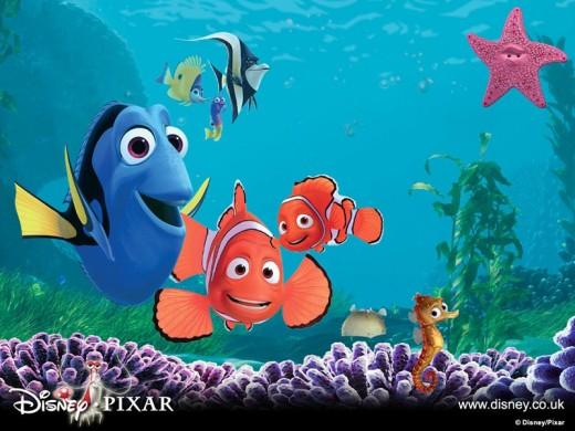Nemo, Marlin and Dory in Finding Nemo.