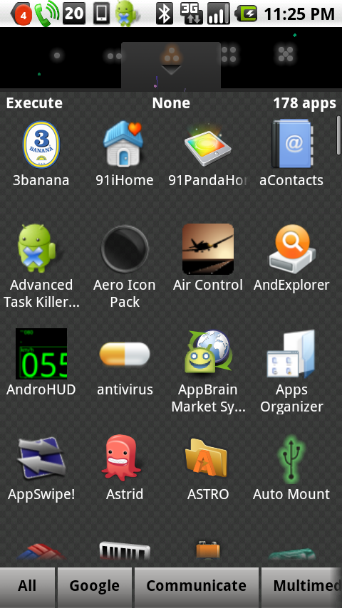 TagHome's app drawer, note the tags in the bottom (the bar is draggable to show more tags)