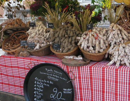 Sausages on market stall