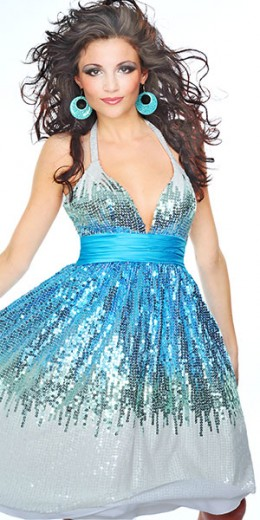 Prom Dress: Precious Formals Prom Dress Style P20595 sequined short dress, Deep-V halter, contrast ruched empire band. Blended tonal sequins throughout dress. Gathered a-line skirt. Sexy mid-back. Fabric: Illusion & Charmeuse