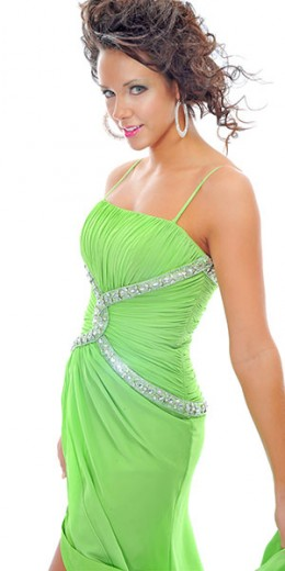 Prom Dress: Precious Formals Prom Dress Style P20653 Chiffon Strapless straight gown, ruched bustline. Empire beaded band criss crosses across center of dress. Waistline ruching. Whimsical skirt with center front slit, and slight train. Zip back clos