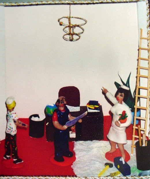 A diorama of Jackie Kennedy remodeling at the white house