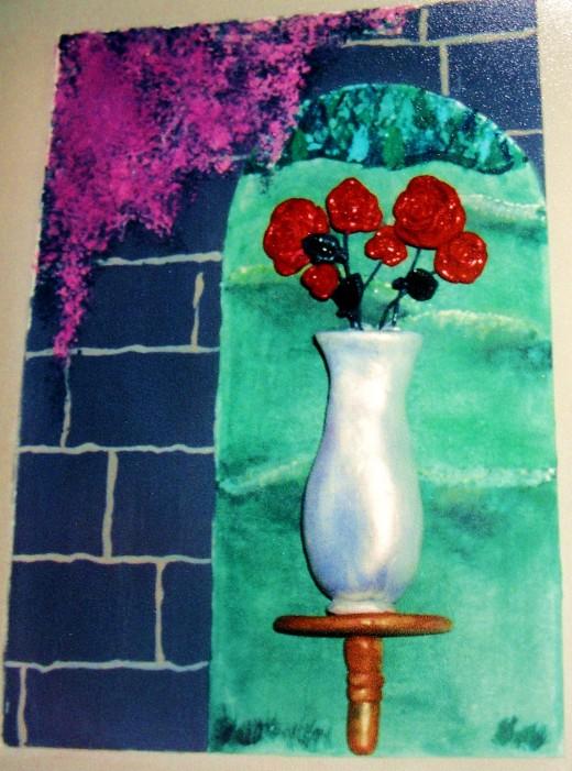 A wall sculpture by Sarah K.