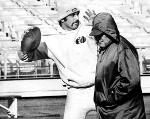 Mustachioed Joe Namath shown at practice in 1968 with Jets coach Weeb Ewbank.