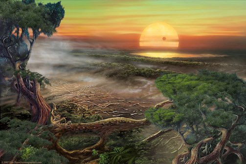 An artists rendition of the possible appearance of the surface of an extremophile habitable planet like Gliese 581 c