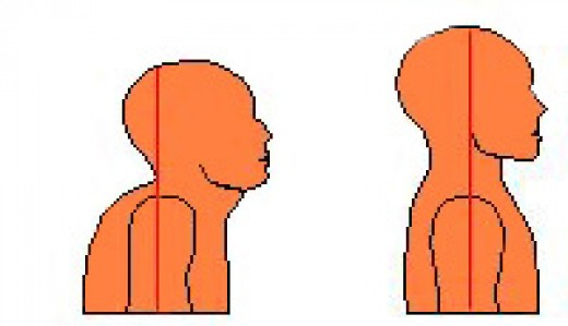 Bad and good neck alignment. See the Double Chin in the first picture?