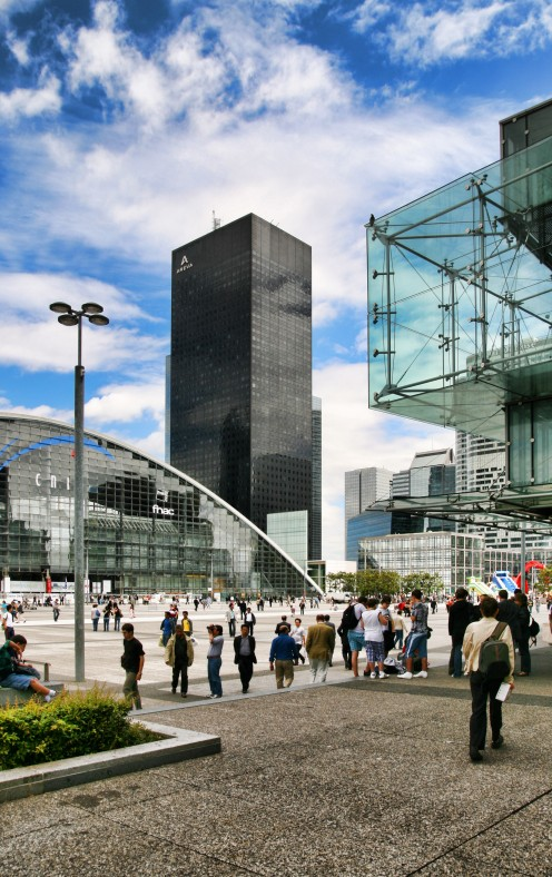 La Defense business center. The architecture is similar to most high performance business centers around the world.