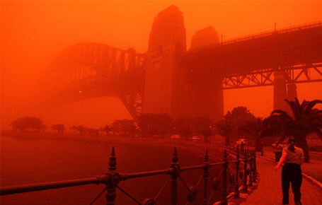 A major dust storm in Sydney Australia caused this red sky, No rain or storm resulted during this drought.