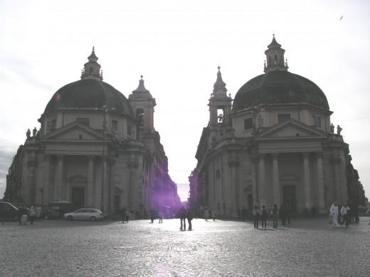 Via del corso seen from Piazza del Popolo