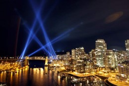 An installation of laser lights is seen in the town of Vancouver, Canada