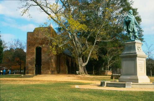 Jamestown, Virginia showing the monument to Captain John  Smith on the right.