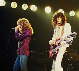 Robert Plant (left) and Jimmy Page (right) performing during their North American tour in 1977.