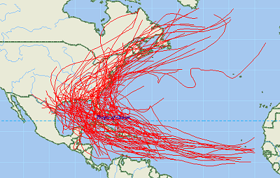 This collection of data concerning hurricanes over many decades, gives us some idea of what to generally expect.