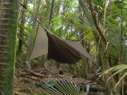 Hammocks are the best way to camp outdoors - you have no restrictions on where you sleep at night, and are kept comfortable and dry. Notice the water bottles with funnels attached to the sides of the cover sheet: they act to collect water during rain
