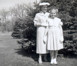 My mother and me in our front yard...photo dated June of 1958.
