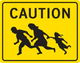 Please don't run over the immigrants.