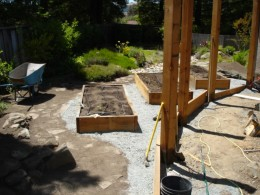 """The raised beds filled with their """"growing media""""."""