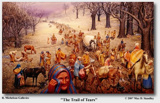 "About 500 nations ended in ""the trail of tears"" as the result of the Indian Clearing Act of 1830 through 1870."
