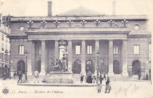 Comedie Francaise (Today: The Odeon) in 1910--rebuilt twice in the same design after two fires. (Postcard)