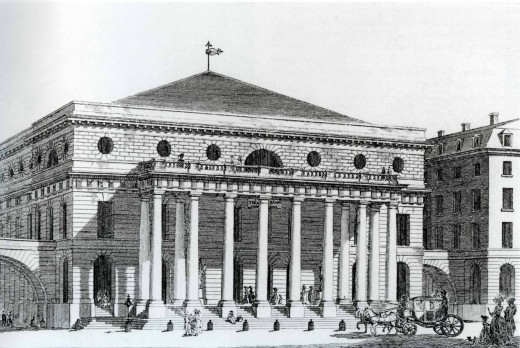 Comedie Francaise (Today: The Odeon)in Jefferson's time--late 18th century. Jefferson thought this was one of  the most beautiful buildings in France.