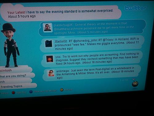 Sample of Twitter on Xbox Live From http://farm4.static.flickr.com/3478/4058721761_1d0056da4a.jpg