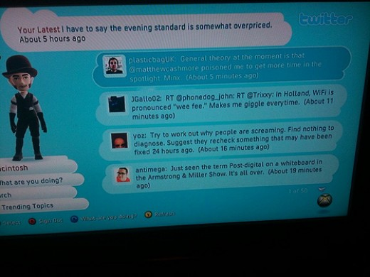 Sample of Twitter on Xbox Live From http://farm4.static.flickr.com/3478/4058721761_1d0056da4a.jpg