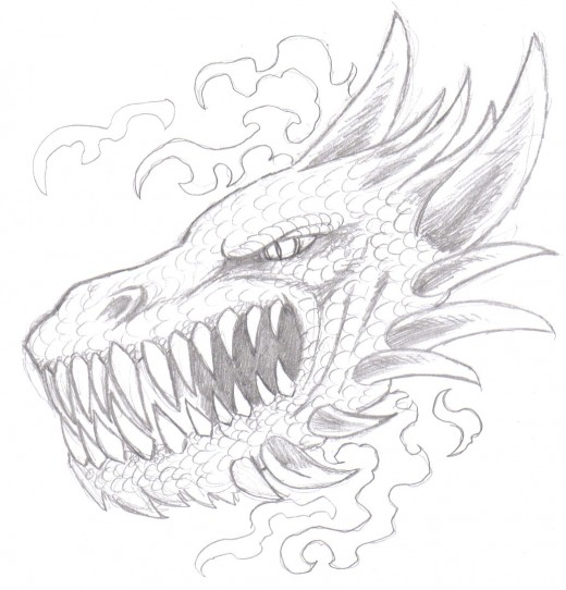 Dragon Head Pencil Sketch.