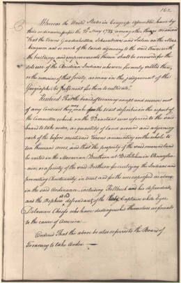 1787 congressional resolution granting public land to the Moravians to Christianize Delaware Indians.