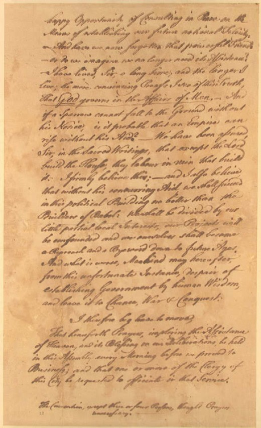 Benjamin Franklin's speech to the Constitutional Convention requesting that each session begin with prayer