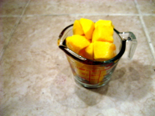 Use a heaping cup of mango chunks / Photo by E. A. Wright