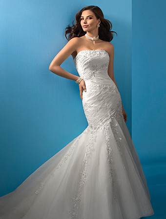Wedding Dress: Alfred Angelo Wedding Dress Style 2083 Net over Satin, Re-embroidered Lace with Metallic Accents, Crystal Beading & Sequins Optional Modesty Piece & Spaghetti Straps Semi-cathedral Train