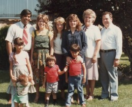 My Dad (on the right) and the family in front of the home he built from the ground up.