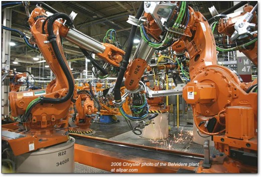 Today, assembly lines of robots manufacture items once requiring thousands of workers to do the same tasks.