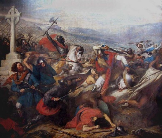 Battle of Tours in 732 AD  image courtesy of Charles de Steuben's Bataille de Poitiers