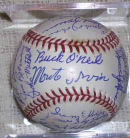 Baseball signed by 33 players including Negro League stars Buck O'Neil and Monte Irvin.