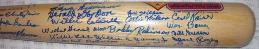 Negro League bat signed by 61 players.